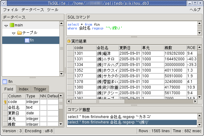 TkSQLite version 0.4 on FedoraCore1